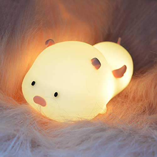 Pet Piggy Touch Sensor Switching LED Night Lamp, Pat LED Baby Night Light, USB Rechargeable Breathing Magnetic Night Lamp, for Children Bedroom and Nursery (Angel Piggy ()
