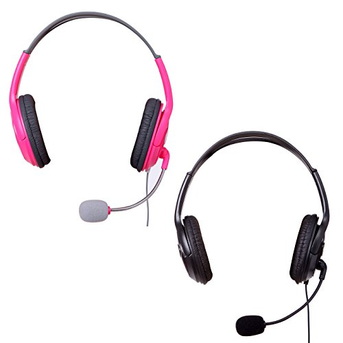HDE XBOX 360 Headset Headphone Mic Game Chat Live Microphone Compatible with Wireless Controller (2-Pack PINK & (Xbox 360 Live Wireless Headset)