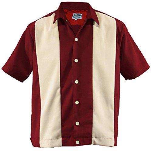 Aloha-Beachwear Men's Two-Tone Bowling Work Shirt Lounge Double Panel Retro (XXL/XX-Large, Red/Beige)]()
