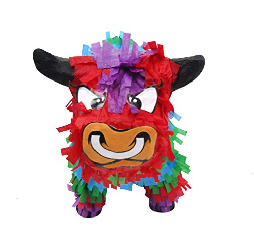 Pinatas Multicolored Bull, 3D Mexican Fiesta Party Game, Centerpiece Decoration and Photo -