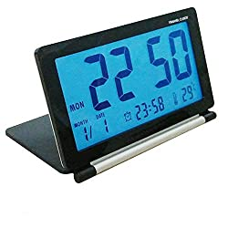 Mingsu Folding Digital Travel Clock with Night Light, Battery Operated Alarm Clocks Large Number Display Snooze Calendar Temperature Function for Men Elder Home Office Use - Black