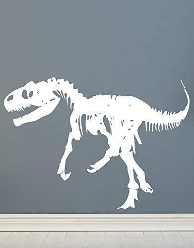 Boy Wall Tile - Dinosaurs Vinyl Wall Art Raptor Bones Wall Decal Sticker. 40in Tall x 56in Wide (White) Reverse (Facing to The Left). Easy to Apply & Removable. #MMartin154s-WHITE-Reverse