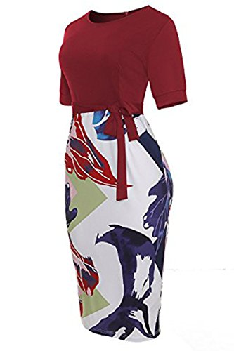 Waistband Color Work with YYSunshine Bodycon Business Short to Block Dress Wear Sleeve Red Dress Womens vZYwOZq4