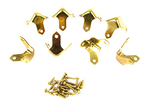 8pc. Small Brass Box & Trunk Corners with Mounting Screws - Brass Trunk