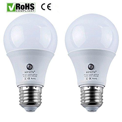 Dusk To Dawn Porch Light Bulb: 2-Pack E27 7-Watt 630Lumens LED Dusk-to-Dawn Sensor Light