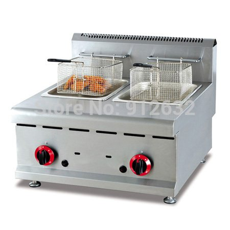 LPG gas fryer Stainless steel counter top , commercial natural gas wells deep fryer (Gas Commercial Fryer compare prices)