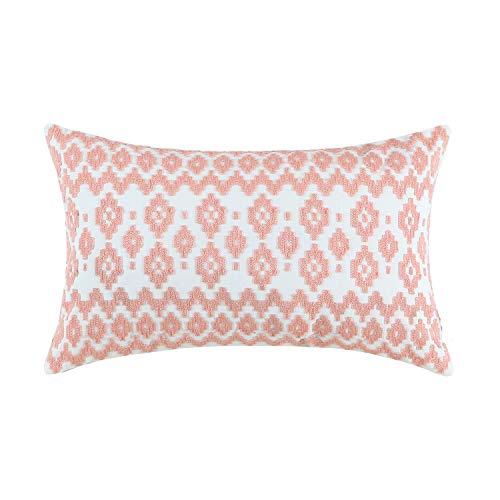 Aitliving Throw Pillow Shell Cotton Embroidered 1pc Geometric Empire Lumbar Pillowcase Peach 12x20
