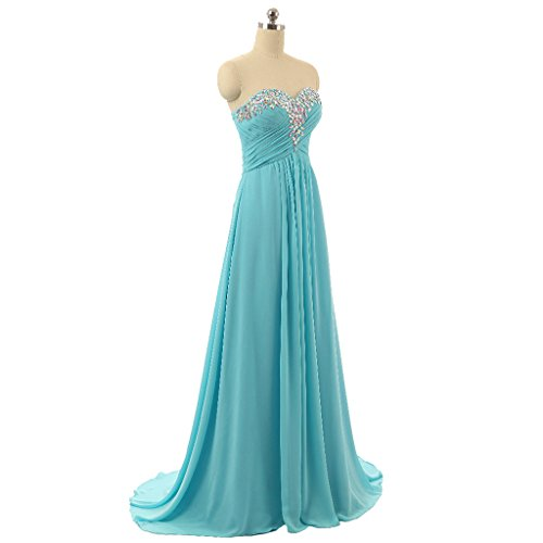 long Dresses Chiffon Women's Bridesmaid Prom CuteShe Green 7P5w6SqOn4