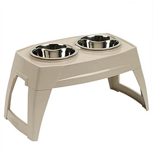 Double Dish Large Elevated Raised Food Water Dog Bowl Tray Feeder