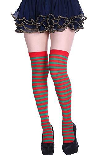 Womens Thigh High Socks Over the Knee Socks Spandex Striped Stockings Tube Socks ()