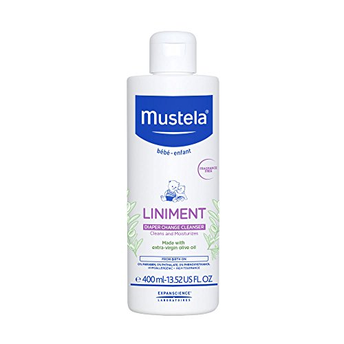 - Mustela Liniment, Natural No-Rinse Baby Cleanser for Diaper Change, with Extra-Virgin Olive Oil, 13.52 Fl. Oz