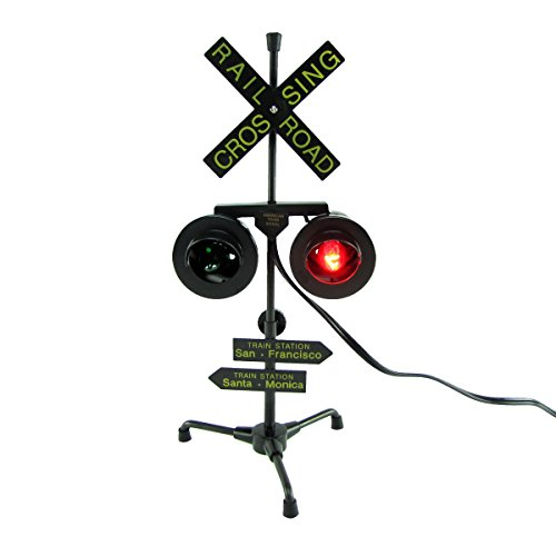 Railroad Crossing Signal Flashing Red Lights Desk Lamp RR Xing Train Sign (American Crossing Home Office Desk)