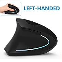 Left Handed Mouse, 7Lucky 2.4G Wireless LEFT HAND Ergonomic Vertical Mouse with Nano Receiver, Less Noise - Black