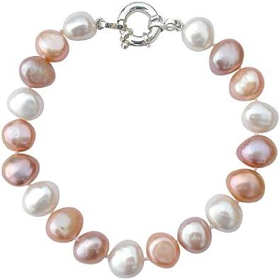 Pulsera de perlas barrocas clásicas color durazno/lila/blanco cultivadas de agua dulce de 9-10mm con broche en plata de ley