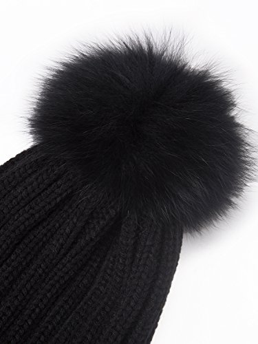 2e4be920635 Jual LITHER Women Winter Kintted Beanie Hats with Real Fox Fur Pom ...