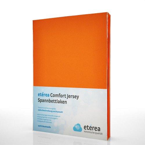 Jersey Spannbettlaken Spannbetttuch - etérea Comfort - Baumwolle Orange, 180x200 - 200x200 cm