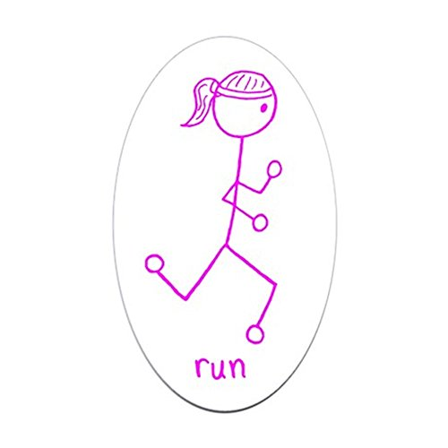 CafePress Pink Running Girl W/Words Oval Bumper Sticker, Euro Oval Car Decal