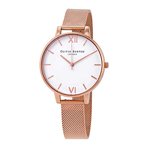 (Olivia Burton White Dial Mesh Watch in Rose Gold)