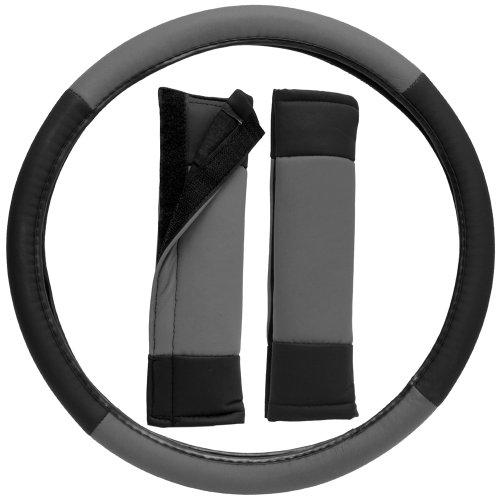OxGord Stylish Leatherette Steering Wheel Cover and Seat Belt Pad Set for the Lexus ES250 Sedan in Gray & Black Leatherette