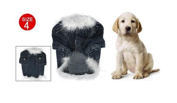 ... de Los Pantalones Vaqueros del dril de algodón perro de mascota inútil e innecesario del perrito ropa ropa de Abrigo Chaqueta Tamaño 4 : Pet Supplies