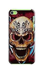 LarryToliver iphone 5c Awesome Plastic Protective Skin Case Cover Shell - fashion skull Background image #2