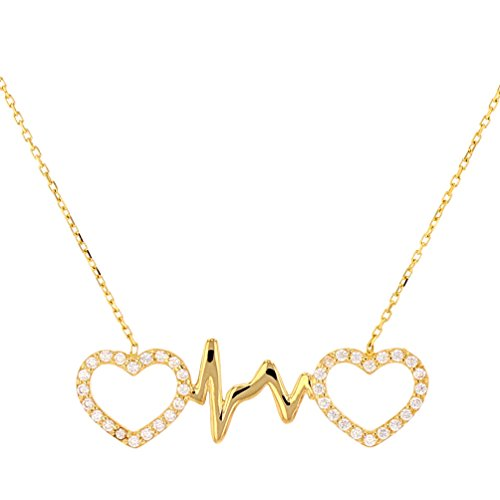 JewelryAmerica Polished 14k Yellow Gold CZ Double Open Heart with Heartbeat ()