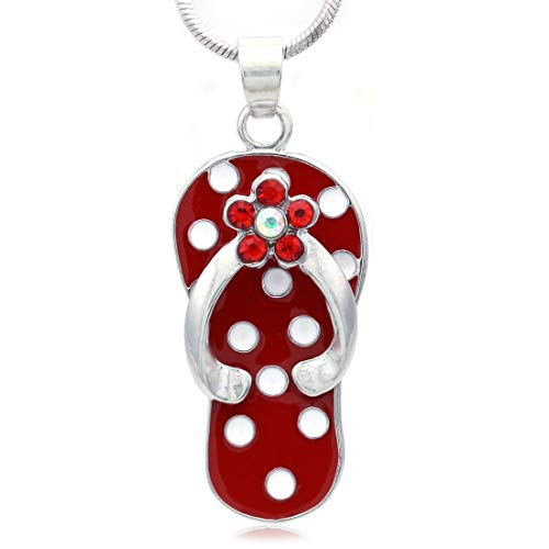 Soulbreezecollection Flip-Flop Beach Sandal Necklace Charm Pendant White Black Spot Summer Jewelry (Red) ()