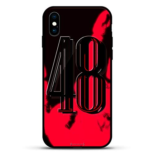 Numbers: Number 48 in Bold Modern Font | Luxendary Magma Series Color-Shifting/Changing Matte Case with 3D-Printed Gloss Design for iPhone Xs/X in Coal Brown ()