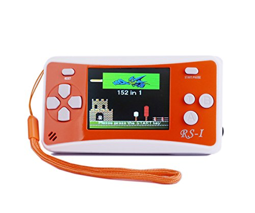 """QINGSHE Handheld Game Console, Kids Classic Retro Game Electronics Toys Portable Video Console Player, 2.5"""" LCD 8-Bit 152 in 1 Games Arcade Video Gaming System Device,Great Gift for Kids-Orange"""