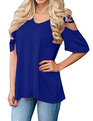 Allegrace Womens Half Sleeve Cold Shoulder Tee Shirts Casual Loose Summer Tops Blue M