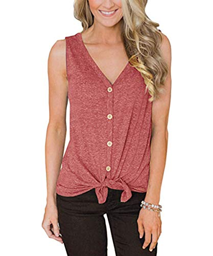 Womens Waffle Knit Tunic Blouse Pleated Henley Tops Tie Knot Front Loose Fitting Plain Shirts(Brick red-20 S)