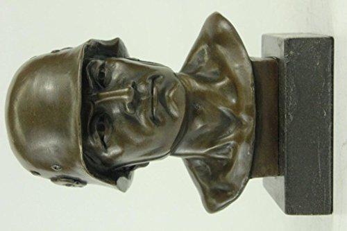 (Handmade European Bronze Sculpture Signed Original Fisher Unknown German Soldier Army Marble Bronze Statue -UKYRD-511-Decor Collectible Gift)