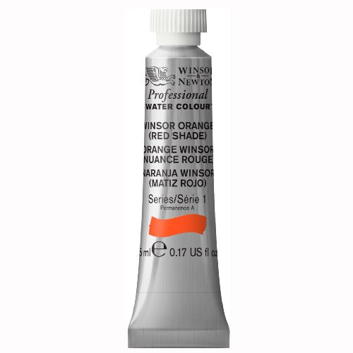 Winsor & Newton Professional Water Color Tube, 5ml, Orange Red - Orange Shades