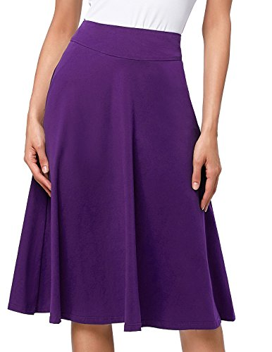 Womens Solid Lightweight Knit Elastic Waist Flared Midi Skirt (XL,Purple)