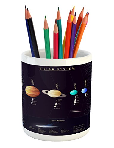 Ambesonne Outer Space Pencil Pen Holder, Solar System Scientific Information Jupiter Saturn Universe Telescope Print, Printed Ceramic Pencil Pen Holder for Desk Office Accessory, Multicolor by Ambesonne