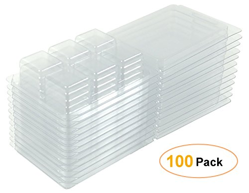 Clamshell Molds - Clamshell Molds and Packaging 6-cavity for Candle and Soap Making - 6 Large 1 ounce cells - Holds 2.75 Oz capacity - Quantity 100 pack