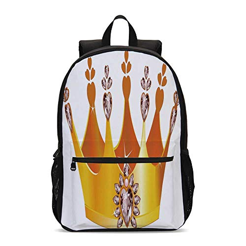 Queen Durable Backpack,Gold Colored Tiara Cartoon Princess Hearts Floral Details Fairytale Character for School Travel,12.2