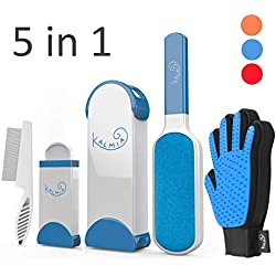 Kalmia Pet Hair Remover with Self Cleaning Base, Grooming Comb and Glove Combo - Removes Dog, Cat Fur and Lint from Clothing, Furniture Upholstery. Reusable Brush Rollers System for Neat Pet Homes