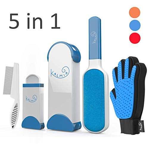 Pet Hair Remover With Self Cleaning Base Grooming Comb and Glove 5-in-1 Combo - Removes Dog, Cat Fur and Lint from Clothing, Furniture Upholstery. Blue Reusable Brush Roller System for Neat Pet Homes ()