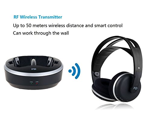 Wireless Universal TV Headphones, Monodeal Over-Ear Stereo RF Headphones with Charging Dock, Low Latency Volume Adjustable for Gaming TV PC Mobile, 25hr Battery Sound -1 Year Warranty by MONODEAL (Image #2)'