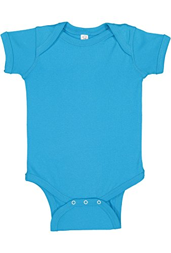 Rabbit Skins Infant 100% Cotton Baby Rib Lap Shoulder Short Sleeve Bodysuit (Turquoise, 18 Months)