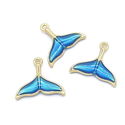 10pcs 20×18mm Enamel Lake Blue Cute Lovely Whale