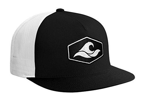 Joe's USA Koloa Surf Hexagon Patch Logo MESH Snapback Hat-BlackWhiteMesh