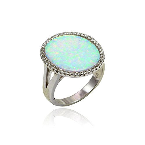 Oval Halo Cocktail Ring Fashion Bezel Oval Lab Created White Opal Round Cubic Zirconia Split Open Shank 925 Sterling Silver (Shank Rounds Ring Open)