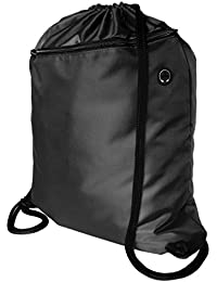 Very Strong Premium Quality Drawstring Backpack Gym Bag with Large Zip Pocket. Plain School Kids PE Kit Bag with NO LOGO, Perfect for Sports, Beach Holidays, Swimming, Travel. ProGym by Zavalti