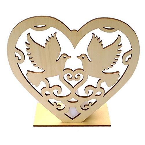 Misright Wooden Peace Pigeon Heart Shape Romantic Pendant LED Candle Light Freestanding Sign DIY Ornament