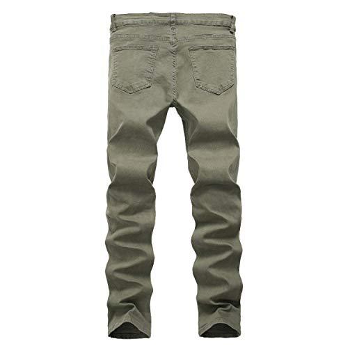Battercake Estiramiento Mediados Cintura Ajustados Los Cómodo Elásticos De Verde Altos Hombres Rasgados Mezclilla Pantalones Vaqueros H7w4crFqaH