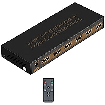 HDMI 2.0 Switch 5x1 Awakelion Premium Quality 4K x 2K/60Hz HDMI Switcher with IR Remote, HDR,HDMI 2.0, HDCP 2.2 ,Full HD/3D,1080P,DTS/Dolby (5 In 1 Out)