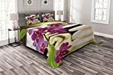Lunarable Spa Bedspread Set King Size, Refreshing Spa Day with Stones Herbal Salts and The Exotic Flowers Print, Decorative Quilted 3 Piece Coverlet Set with 2 Pillow Shams, Purple White and Green