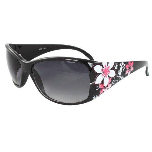 MLC EYEWEAR ® Rectangle Fashion Sunglasses Black Frame in Flower Pattern Design Purple Black Lenses. Out Flower Pattern